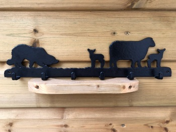 Collie with Sheep 6 Hook Key Rack