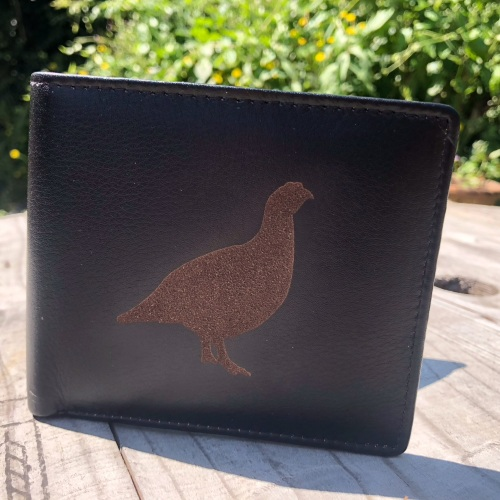 Grouse Engraved Black Leather Wallet