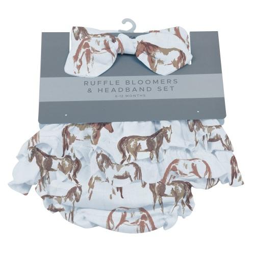 Wild Horses Ruffle Bloomers and Headband Set- 6-12 months