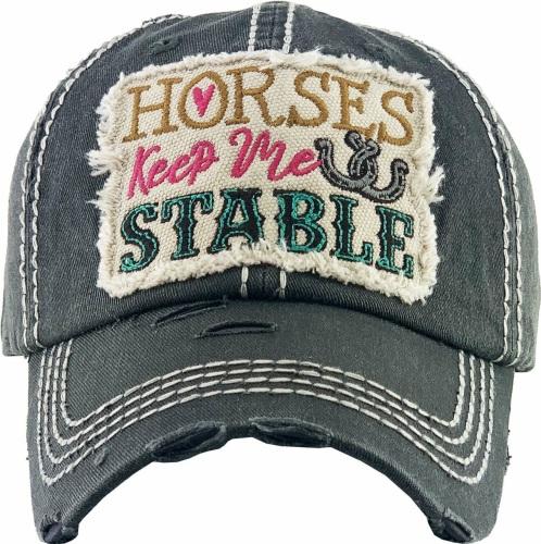 Horses Keep Me Stable Black Cap
