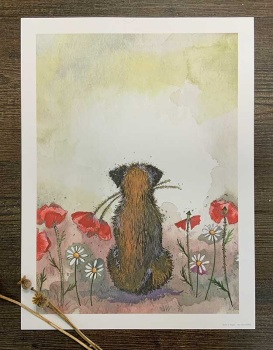 Border Terrier and Poppies Art Print