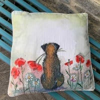 Border Terrier and Poppies Cushion