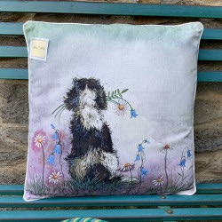 Spaniel and Flowers Cushion
