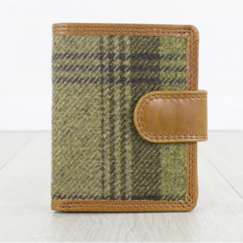 Nicholas Tan Leather and Tweed Wallet