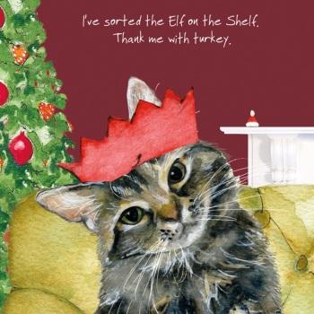 Sorted Elf Cat Christmas Card