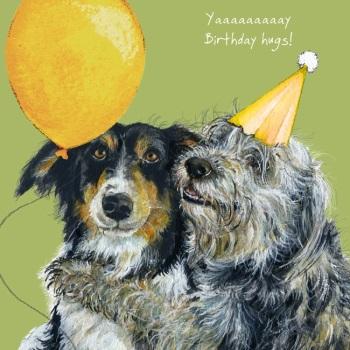 Collie Hugs Birthday Card