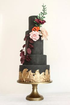 Black and Gold Floral Wedding Cake