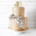Gold Sequin and Silver Leaf Birthday Cake