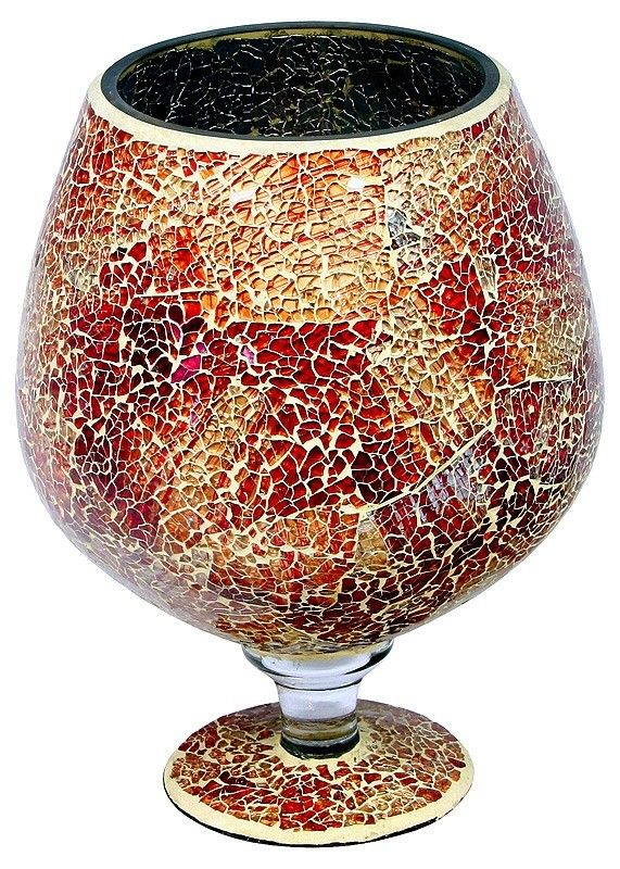Orange Mosaic Brandy Glass Goblet Large
