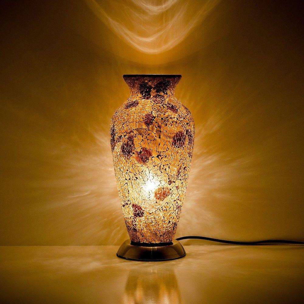 Autumn Gold Mosaic Vase Lamp