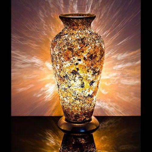 Yellow Gold Mosaic Vase Lamp