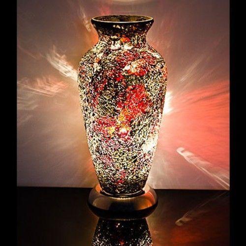 Red Gold Mosaic Vase Lamp