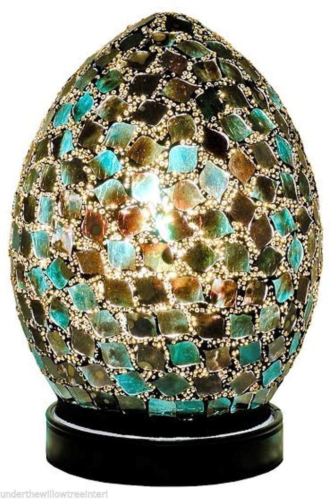 Green Tile Mosaic Mini Egg Lamp