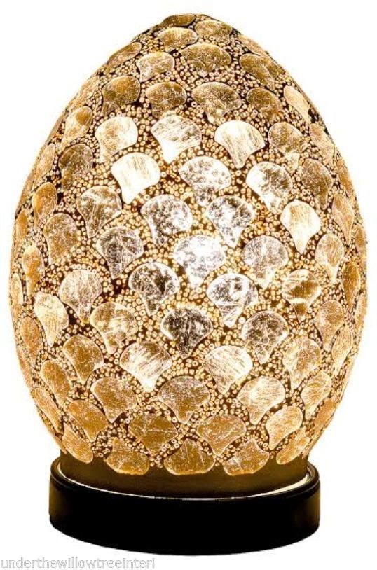 Gold Tile Mosaic Mini Egg Lamp