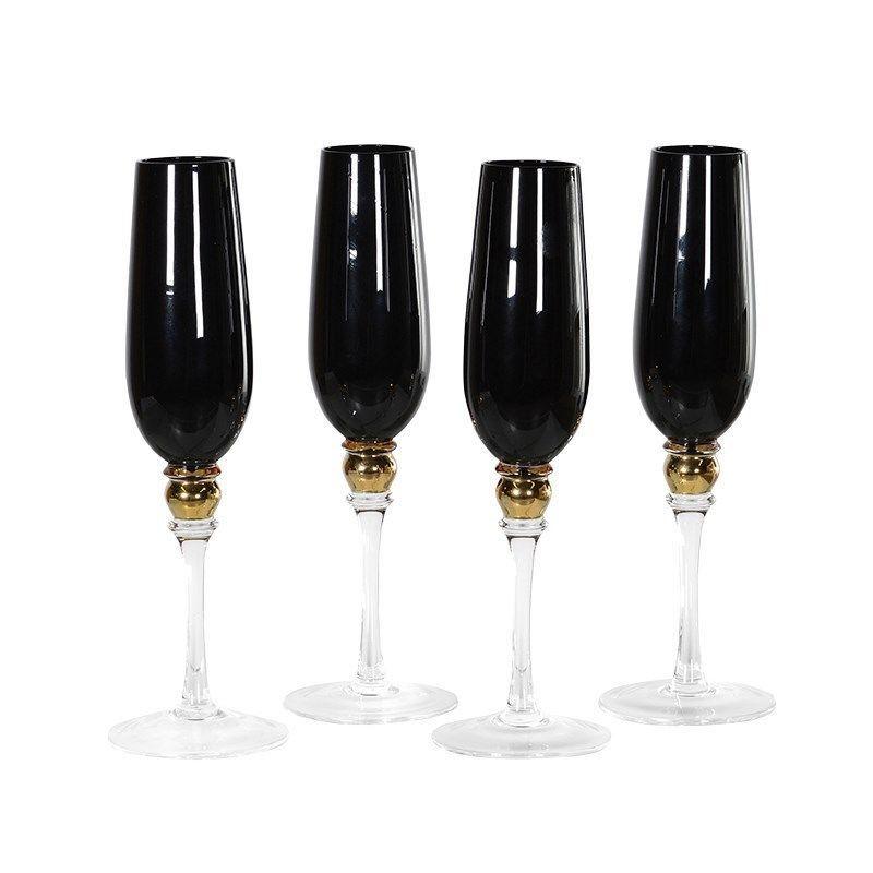 Set of 4 Black Champagne Flutes