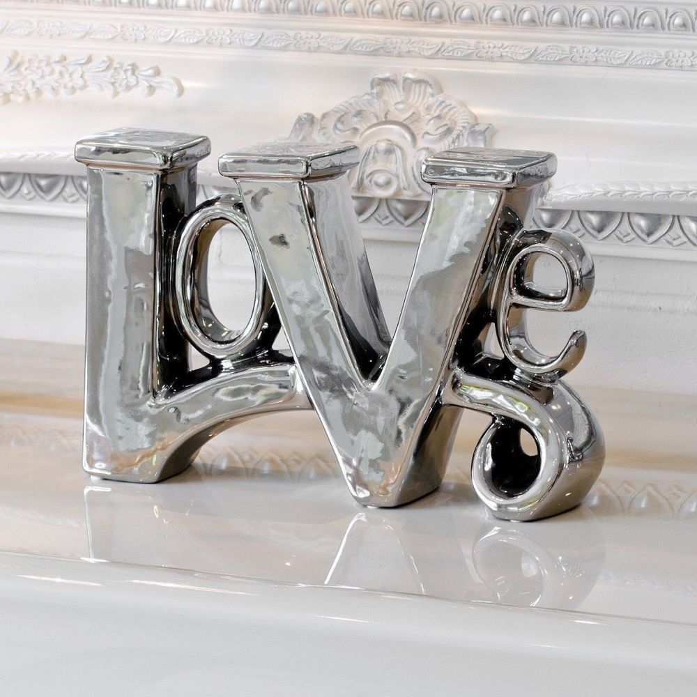 Stunning Platinum Fired Chrome Plated Ceramic LOVE Sculpture Ornament