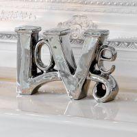 Stunning Platinum Fired Chrome Plated Ceramic LOVE Sculpture Ornament