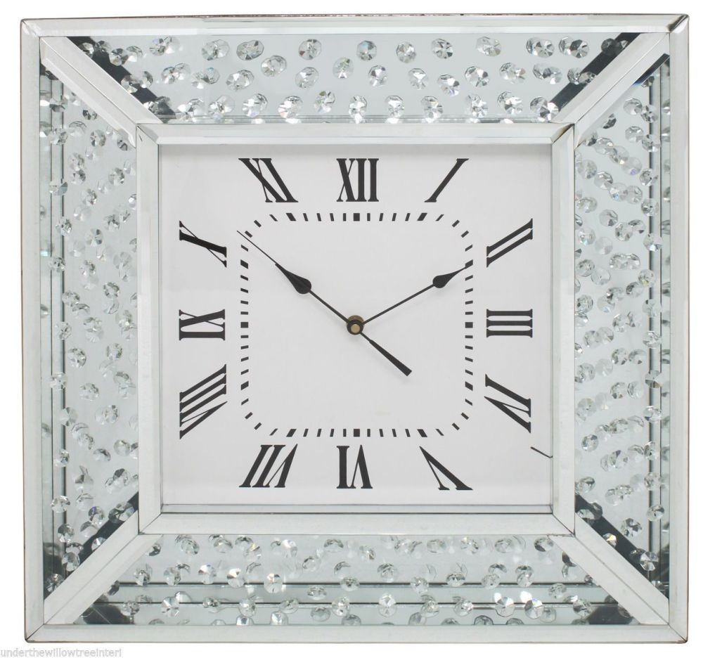 Large Astoria Silver Floating Crystals Wall Clock