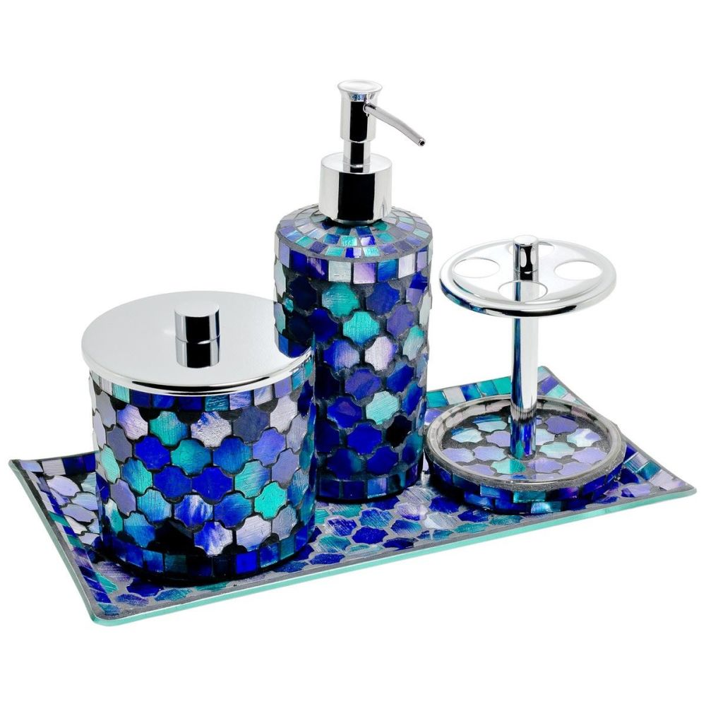 4 Piece Blue Mosaic Bath Set