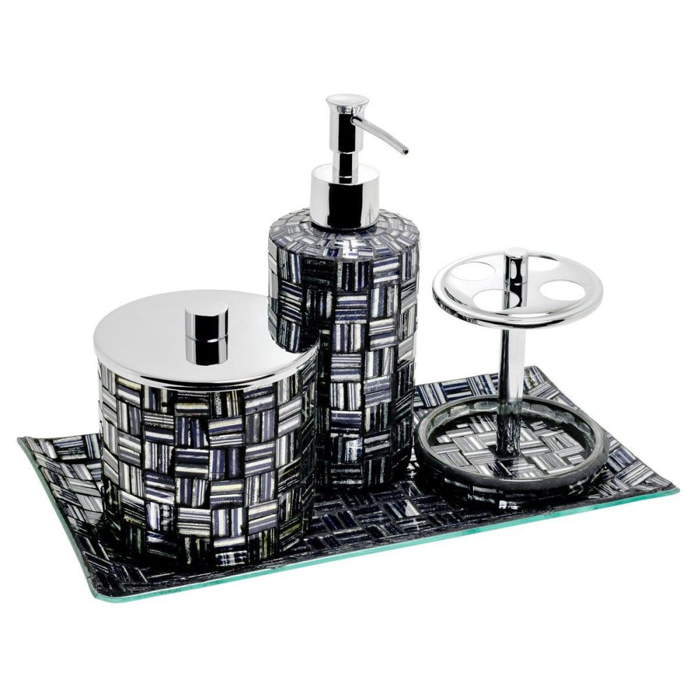 4 Piece Black & Silver Mosaic Bath Set