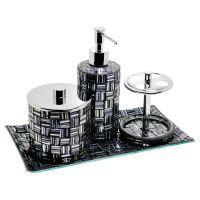4 Piece Black & Silver Mosaic Bath Set