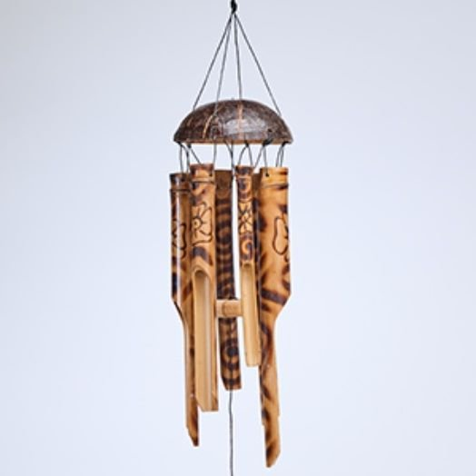 Wood Burnt Floral Windchime