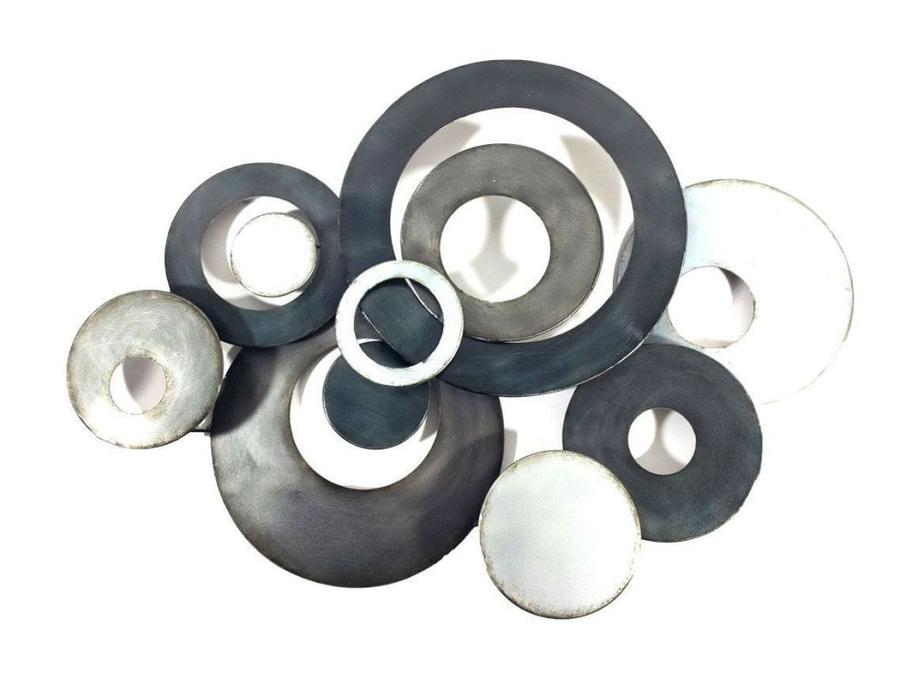Large Abstract Discs Metal Wall Art Black Charcoal
