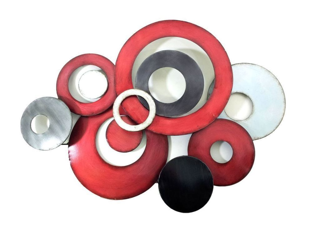 Large Abstract Discs Metal Wall Art Red Silver