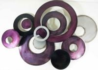 Large Abstract Discs Metal Wall Art Purple Silver