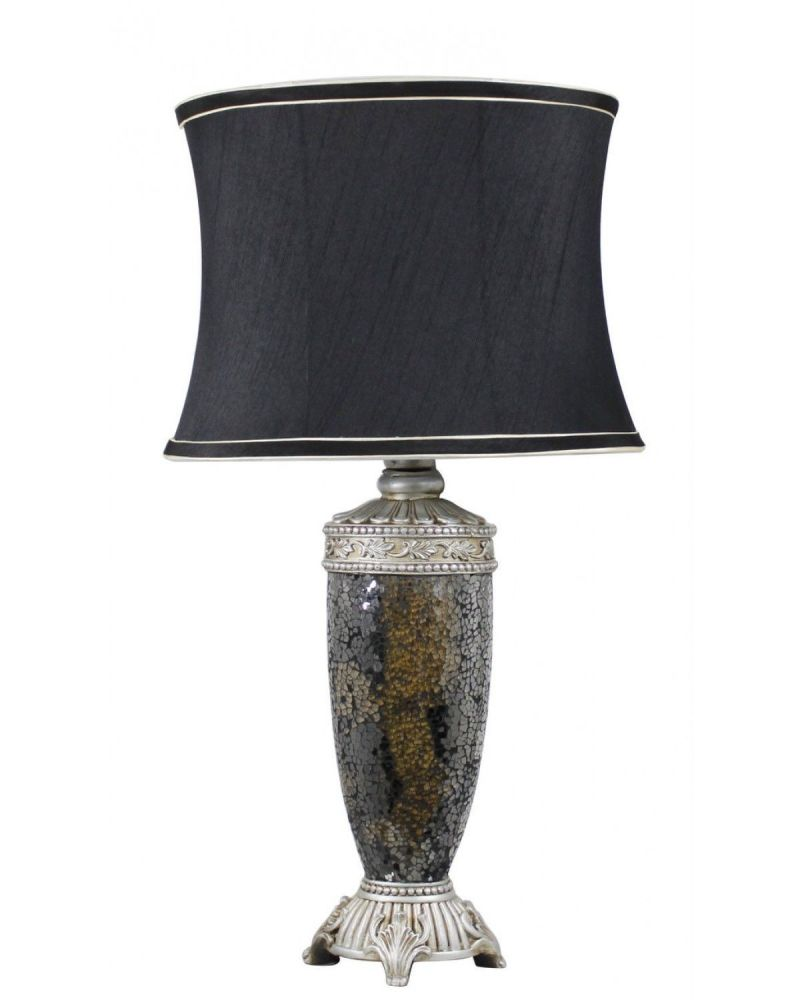 Regency Black & Gold Mosaic Antique Silver Lamp With Black Trimmed Shade