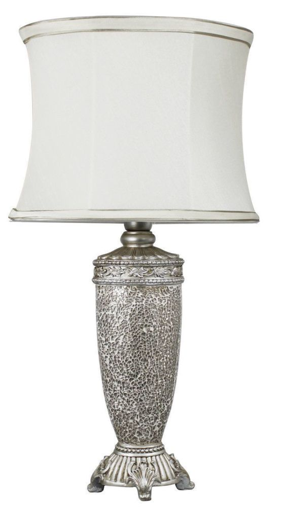 Regency Champagne Mosaic Antique Silver Lamp With Ivory Trimmed Shade