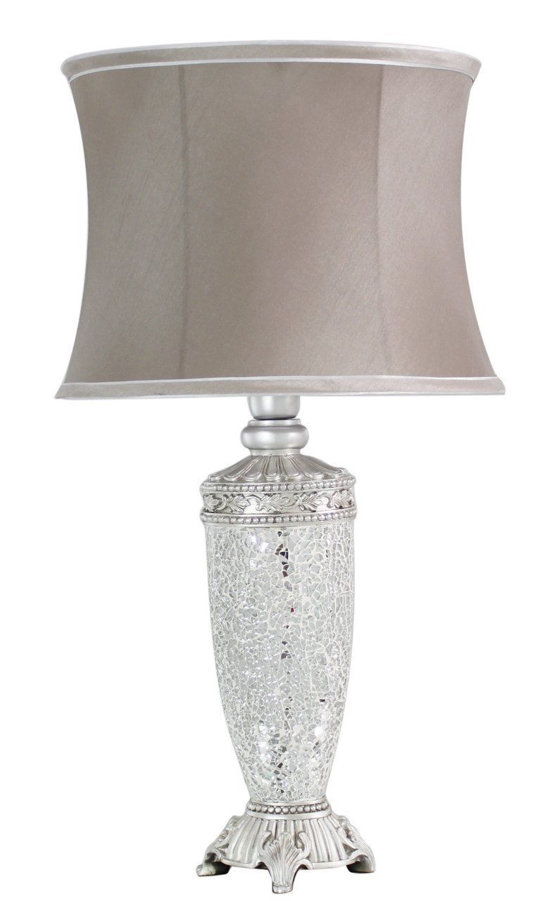 Regency Silver Mosaic Antique Silver Lamp With Taupe Trimmed Shade