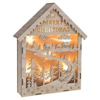 Large Lit LED House Christmas Scene
