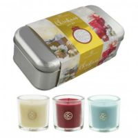 Colonial Candle Christmas Tin Gift Set Box 3 Votive Jars