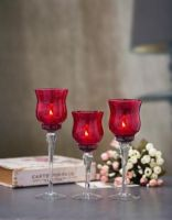 Set of 3 Red Crackle Glass Red Candle Holders