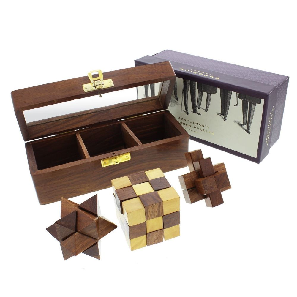 Emporium 3 Wooden Puzzles In Glass Top Wooden Box