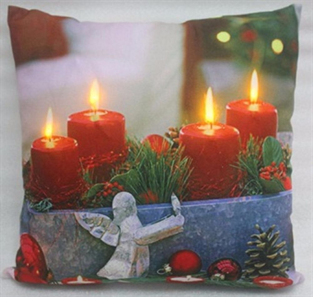 Red Candles LED Light-up Cushion Winter Scene Christmas