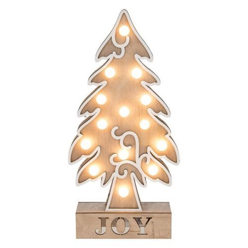 Large Wooden Soft Glow LED Xmas Joy Tree