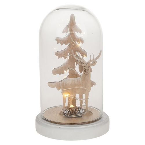 LED Glass Dome Christmas Tree Stag Scene