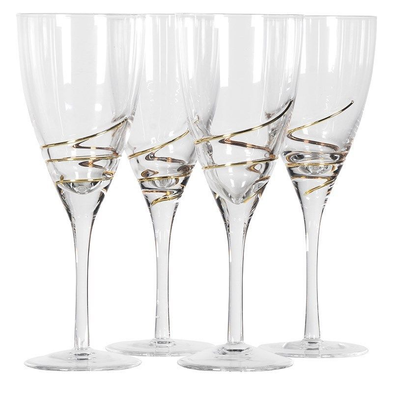 Set of 4 Beautiful Gold Swirl Red Wine Glasses