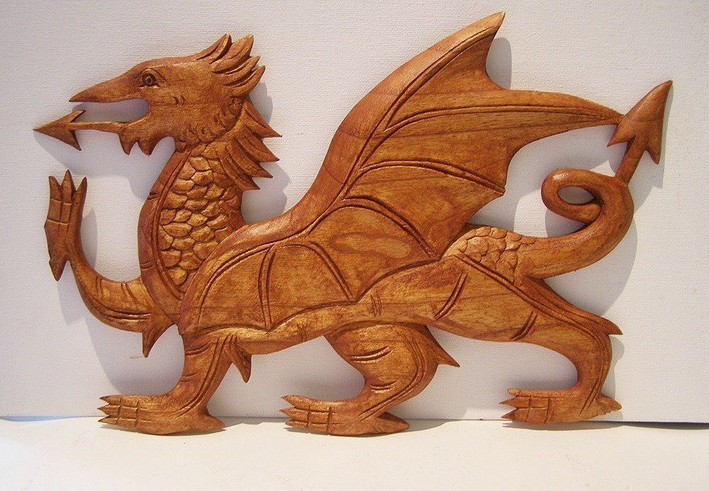 Hand Carved Wooden WELSH Dragon Wall Plaque