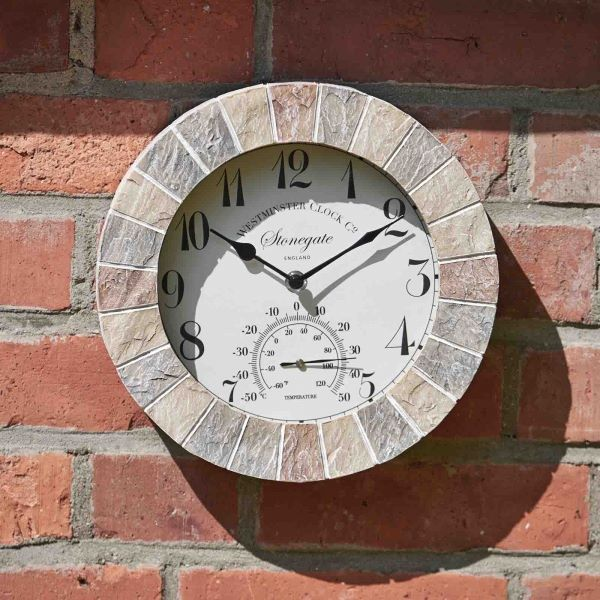 Outdoor Sandstone Effect Wall Clock and Thermometer 10""