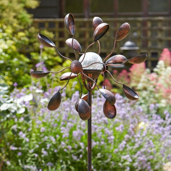 Solar Metal Garden Wind Spinner with Crackle Globe