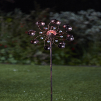 Solar Metal Garden Wind Spinner with Crackle Ball