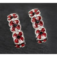 Equilibrium Poppy Half Moon Silver Plated Earrings