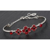 Equilibrium Poppy Ornate Silver Plated Bangle