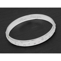 Equilibrium Silver Plated Sparkle Message Mum Bangle