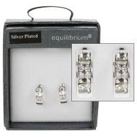 Equilibrium Silver Plated Crystal Hoop Earrings