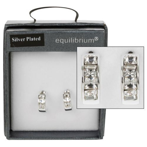 Equilibrium Silver Plated Crystal Hoop Earrings