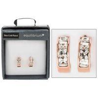 Equilibrium Rose Gold Plated Crystal Hoop Earrings